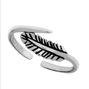Sterling Silver Feather Adjustable Toe Ring